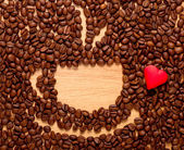 Coffee beans cup and red heart — Stock Photo