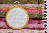 Tambour for cross stitch on sacking — Stok fotoğraf