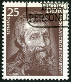 GERMANY - 1975: shows Michelangelo (1475-1564), painter and sculptor — Stok fotoğraf