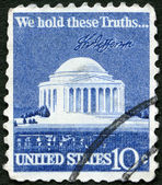 USA - 1973: shows Thomas Jefferson Memorial and Signature — Stock Photo