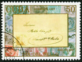 CUBA - 1987: shows stamped cover and canceled stamps, Santiago Santiago de Cuba, 1869, devoted Stamp Day — Stock Photo