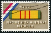 USA - 1979: shows Ribbon for Viet Nam Service Medal, a tribute to veterans of the Viet Nam War — Stock Photo