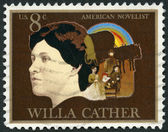 USA - 1973: shows Willa Sibert Cather (1873-1947), novelist, Pioneer Family and Covered Wagon — Stock Photo