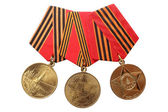 "RUSSIA - 1995, 2005, 2010: Jubilee Medals ""50, 60, 65 Years of Victory in the Great Patriotic War 1941-1945"" isolated on white background — Zdjęcie stockowe"