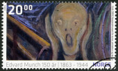 NORWEY - 2013: shows Detail from The Scream by Edvard Munch (1893, The National Museum) — Стоковое фото