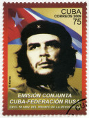 CUBA - 2009: shows commander Ernesto Guevara de la Serna (Che Guevara) and the Republic of Cuba national flag, 50th anniversary of the Cuban revolution Victory, Russian Federation - Republic of Cuba — Stockfoto