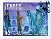 JERSEY - 2012: shows illustrations from A Christmas Carol, 200th anniversary of Charles Dickens(1812-1870) — ストック写真