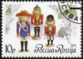 "RUSSIA - 1992: shows German dolls-nutckrackers, series Russian ballet ""The Nutcracker"", by Tchaikovsky — ストック写真"