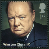 UNITED KINGDOM - 2014: shows Winston Churchill (1874-1965), politician, series Prime Ministers — Stock Photo