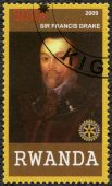 RWANDA - 2009: shows portrait of Sir Francis Drake (1540-1596) — Stock Photo