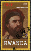 RWANDA - 2009: shows portrait of Marco Polo (1254-1324) — 图库照片