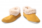Handcrafted leather slippers with wool lining — Stock Photo