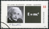 GERMANY - 2005: shows Albert Einstein (1879-1955) and Equation of his Theory of Relativity — Stock Photo