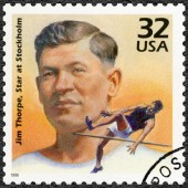USA - 1998: shows Jim Thorpe wins decathlon at Stockholm Olympics, 1912, series Celebrate the Century, 1910s — Stock Photo