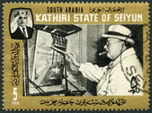 SOUTH ARABIA - 1966: shows Sir Winston Churchill as painter — Stock Photo