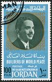 Jordan - 1967: toont portret van koning Hussein van Jordan (1935-1999), serie bouwers van vrede in de wereld — Stockfoto
