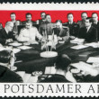 Постер, плакат: GERMANY 1970: dedicate 25th anniv of Potsdam Agreement among the Allies concerning Germany at the end of WWII Potsdam Conference in 1945 with Winston Churchill Harry S Truman and Joseph Stalin