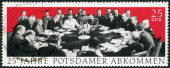 GERMANY - 1970: dedicate 25th anniv. of Potsdam Agreement among the Allies concerning Germany at the end of WWII, Potsdam Conference in 1945 with Winston Churchill, Harry S. Truman and Joseph Stalin — Stock Photo