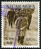 NICARAGUA - 1966: shows Sir Winston Churchill (1874-1965), On military inspection as young officer — Stock Photo