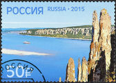 RUSSIA - 2015: shows natural park Lena Pillars, Lenskiye stolby, World Natural Heritage of Russia and UNESCO — Stock Photo