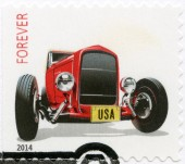 USA - 2014: shows Hot Rods Ford Deuce Coupe model 1932, series  Forever, design Derry Noyes and John Mattos — Stock Photo
