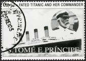 ST. THOMAS AND PRINCE ISLANDS - 1998: shows Captain Edward John Smith and Titanic — Stock Photo