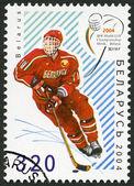 BELARUS - 2004: shows Ice Hockey player, dedicated 18rd Junior Ice Hockey World Championship IIHF in Belarus — Stock Photo