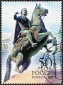RUSSIA - 2003: shows statue Bronze Horseman of Peter the Great, the 300th anniversary of  Saint Petersburg — Stock Photo