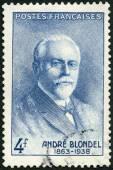 法国-1942年: 显示安德烈 Eugene 德尔 (1863年-1938 年),物理学家 — 图库照片