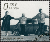 LATVIA - 2014: shows Baltic Chain, devoted The 25th Anniversary of Independence - Joint Issue with Estonia and Lithuania — Stock Photo