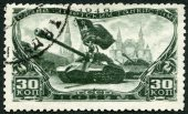 USSR - 1946: shows Tank Divisions in Red Square, series Honoring Soviet tankmen — Stock Photo