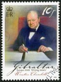 GIBRALTAR - 2008: shows Sir Winston Spencer Churchill (1874-1965), British statesman and WWII leader, series Europa letter writing — Стоковое фото