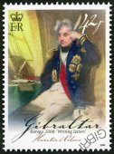 GIBRALTAR - 2008: shows Horatio Lord Nelson, 1st Viscount Nelson (1758-1805), British flag officer, series Europa letter writing — Стоковое фото