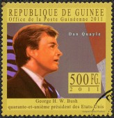 GUINEA - 2011: shows James Danforth Dan Quayle ( born 1947), Vice President of the United States, series George H. W. Bush forty-first President of the United States — Stock Photo