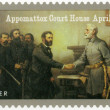 USA - 2015: shows Robert E. Lee's surrender to Ulysses S. Grant at Appomattox Court House on April 9, series The Civil War 1865 — Stock Photo #77480040