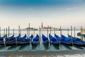 Gondolas in lagoon of Venice, Italy — Stock Photo