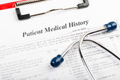 Medical history with stethoscope  — Stock Photo
