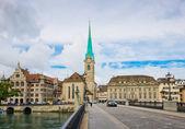 Fraumunster tower in Zurich — Stock Photo