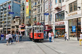 Retro tram moves — Stock Photo