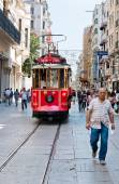 Retro tram in Istambul. — Stock Photo