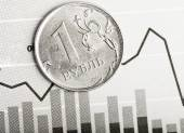Ruble coin on fluctuating graph — Foto de Stock