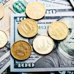 Постер, плакат: Russian coins on dollars