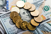 Russian  coins on   dollars — Stock Photo