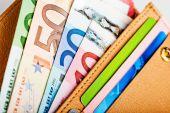 Euro money in wallet — Stock Photo