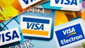 Pile of Visa credit cards — Stock Photo