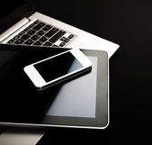 Keyboard with phone and tablet pc — Stockfoto
