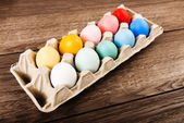 Easter eggs in box — Stock Photo
