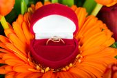 Engagement ring in red box — Stock Photo