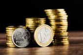 The Russian rouble coin and Euro — Stock Photo