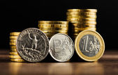 Russian rouble coin, Dollar and Euro — Stock Photo
